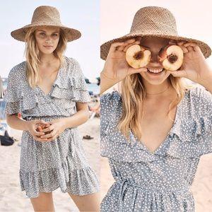 Auguste | Edie Cascade Wrap Mini Dress Dusty Blue
